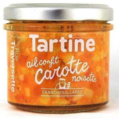 Tartine carotte, ail confit, noisette