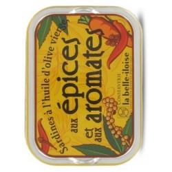 Sardines à l'huile d'olive vierge, épices et aromates