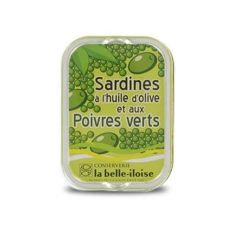 Sardines à l'huile d'olive vierge et aux poivres verts